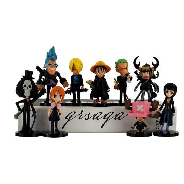 9Pcs set hot sell Japan One Piece Luffy Nami Chopper Zoro Sanji Brook  Golden Lion Shiki PVC Figure Toy 6f6bb0ee081