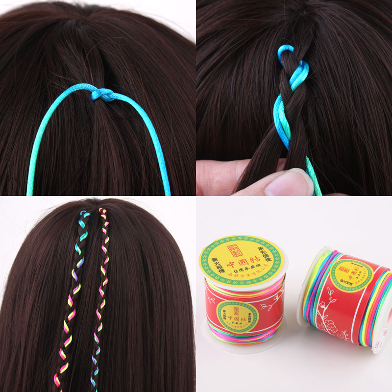 Folk style braids children color rope tie color Tousheng Yunnan has dreadlocks Dali Lijiang stage gradient color rope