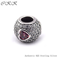 Pave Heart Beads 100% 925 Sterling Silver Clear & Fancy Pink Cz Charm for Jewelry Making Fit Bracelets Diy Fine Jewelry PF330