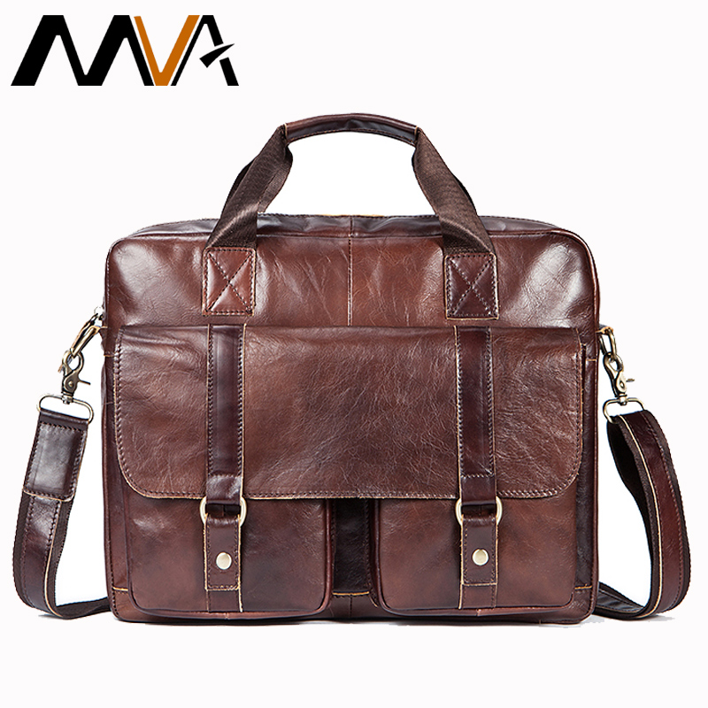 MVA Business Briefcases Bag Genuine Leather Men Bags for Document Leather Laptop Bag Office Bags for