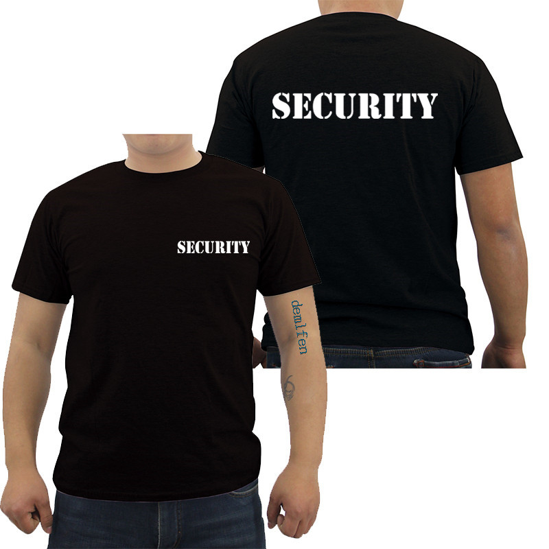 Security Men's T-shirt Event Staff Black Double Sided Top Quality Cotton Casual Short Sleeve Men T Shirts Hip Hop Tees Tops