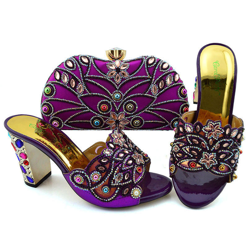 Italian Shoes with Matching Bags for Women Nigerian Women Wedding Shoes and Bag Set Decorated with Rhinestone Party Shoe Bag SetItalian Shoes with Matching Bags for Women Nigerian Women Wedding Shoes and Bag Set Decorated with Rhinestone Party Shoe Bag Set
