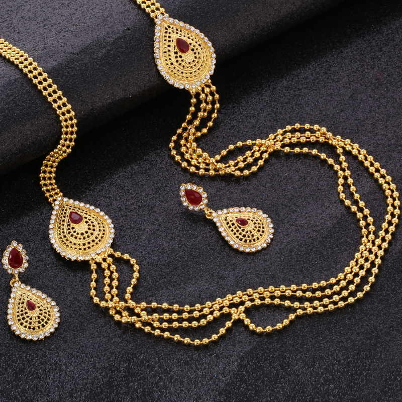 Hesiod African Wedding Jewelry Sets Gold Color Turkish Waterdrop Multi-layer Chain Necklaces & Pendants Trendy Earring For Women