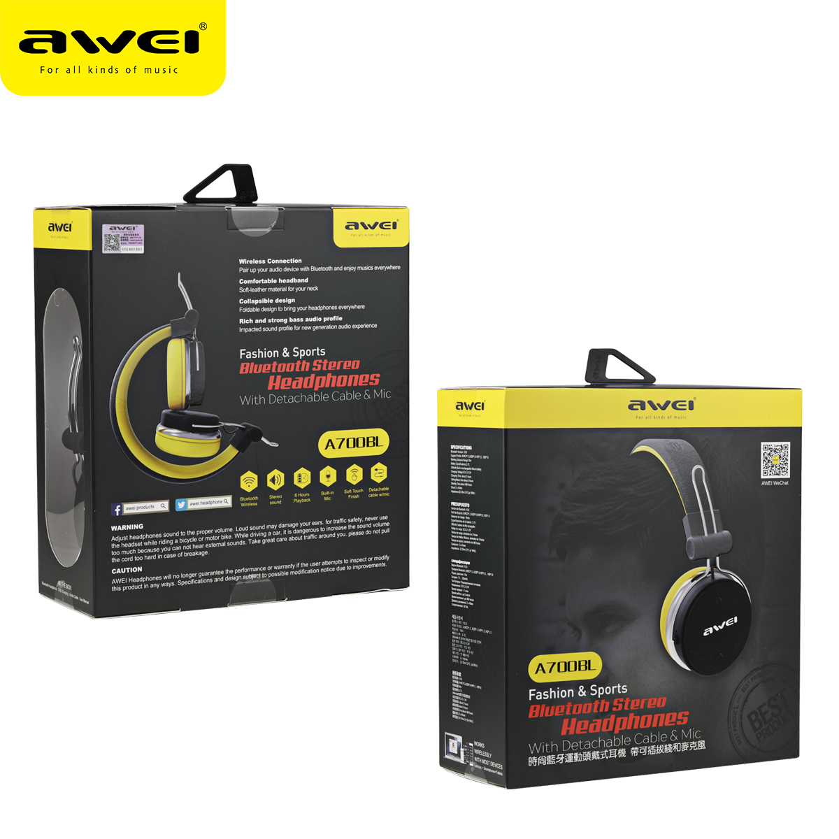 Adapter - AWEI A700BL Bluetooth Headset with Microphone Wireless