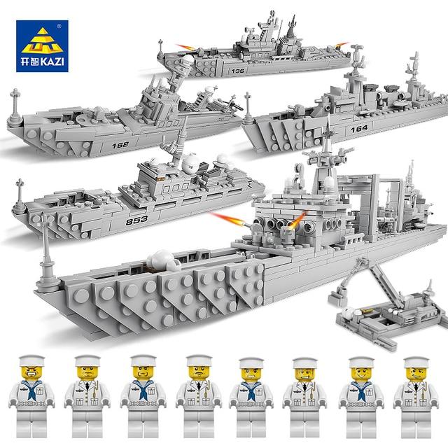 KAZI World Warships Brick Building Blocks Model Military Fleet Toys Set Educational Toys Gifts for Kid