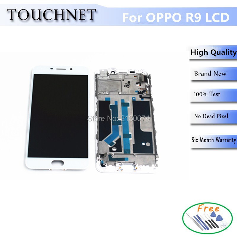 ФОТО 2Pcs/Lot Tested Good Touch Screen Digitizer LCD Display Screen With Frame For OPPO R9 For R9M For R9TM Smartphone