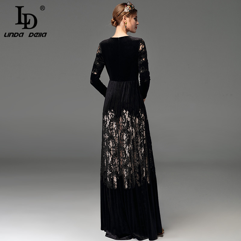 de0daab0375743 High Quality 2017 Winter Black Dresses Floor Length Women's Long Sleeve  Elegant Party Hollow Out Vintage Velvet Long Dress-in Dresses from Women's  Clothing ...