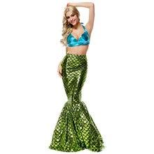 Halloween Carnival Blue Green Slim Women Mermaid Costume Cosplay Long Fancy Dress Dresses for