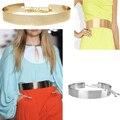 Women Metallic Gold Plate Wide Belt Cummerbunds Metal Mirror Surface Elastic Waist Belt Chains