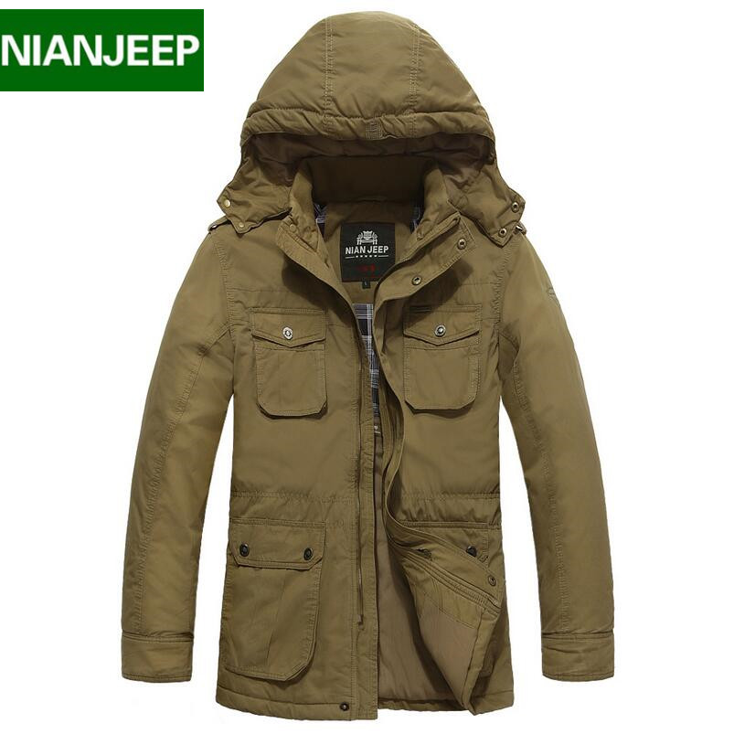 Plus size 4XL loose winter brand men down jacket Nianjeep New  2016 100% cotton thick warm mens winter jackets and coats  plus size 4xl bust 132cm winter mens jackets and coats brand nianjeep thick warm cotton clothing new arrival military