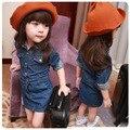 2016 Korean New Spring Summer Girl Children's Garment Lapel Long Sleeve Self-cultivation Skirt Girl Baby Button Cowboy