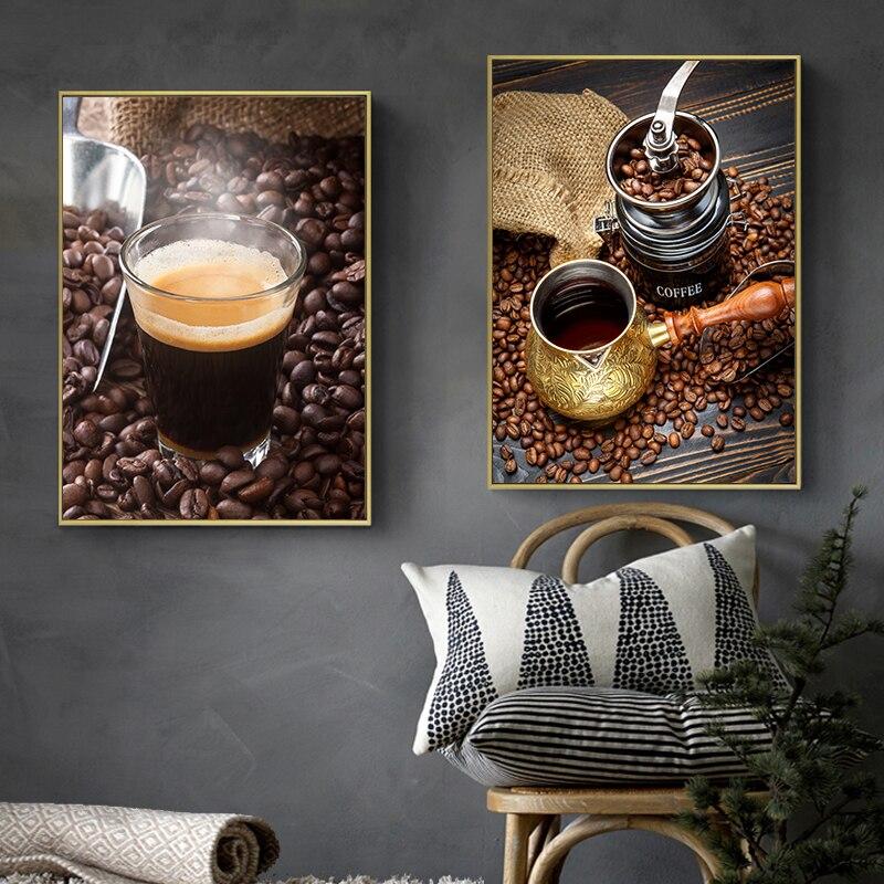 Aliexpress Com Buy 4 Panels Modern Printed Coffee Canvas