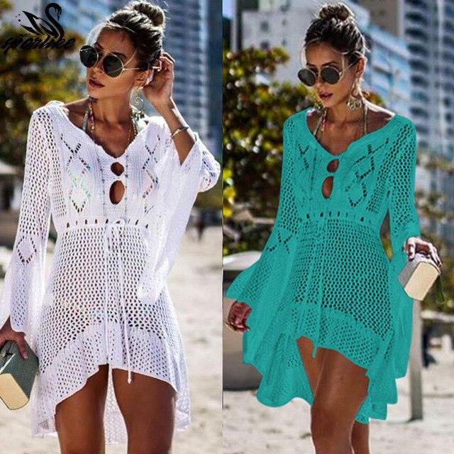 6f1bd073ecd50f4 2019 вязаное белое пляжное платье, туника, длинное Парео Бикини, верхняя  одежда, плащ для плавания, пляжная одежда