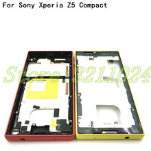 New Phone middle frame For Sony Xperia Z5 Compact E5803 E5823 case Replacement parts Housing Metal With Dust Plug And Adhesive