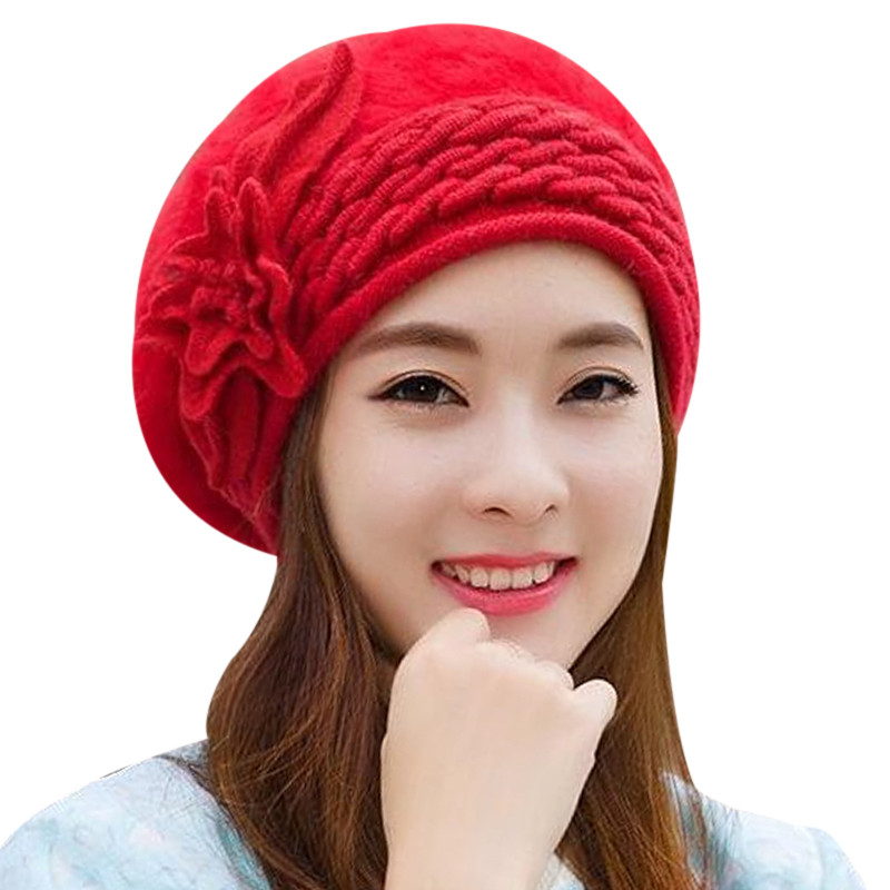 Rabbit Fur Hats For Women Wool Knitted 2017 Ladies Warm Winter Caps Slouchy Beanie Hats Gorros Female Skullies Bonnet Femme men s skullies winter wool knitted hat outdoor warm casual solid caps for men caps hats