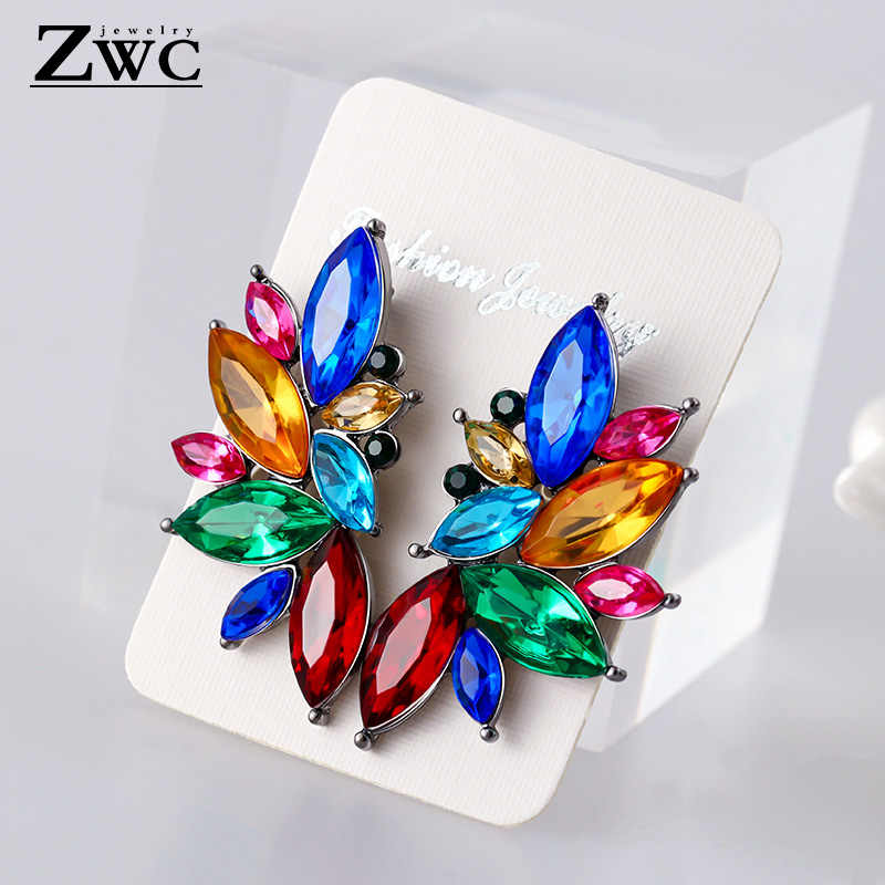ZWC Trendy Brand Opal Stone Drop Earrings 2019 Brand New Elegant For Women Fashion Elegant Geometric Crystal Earring Jewelry