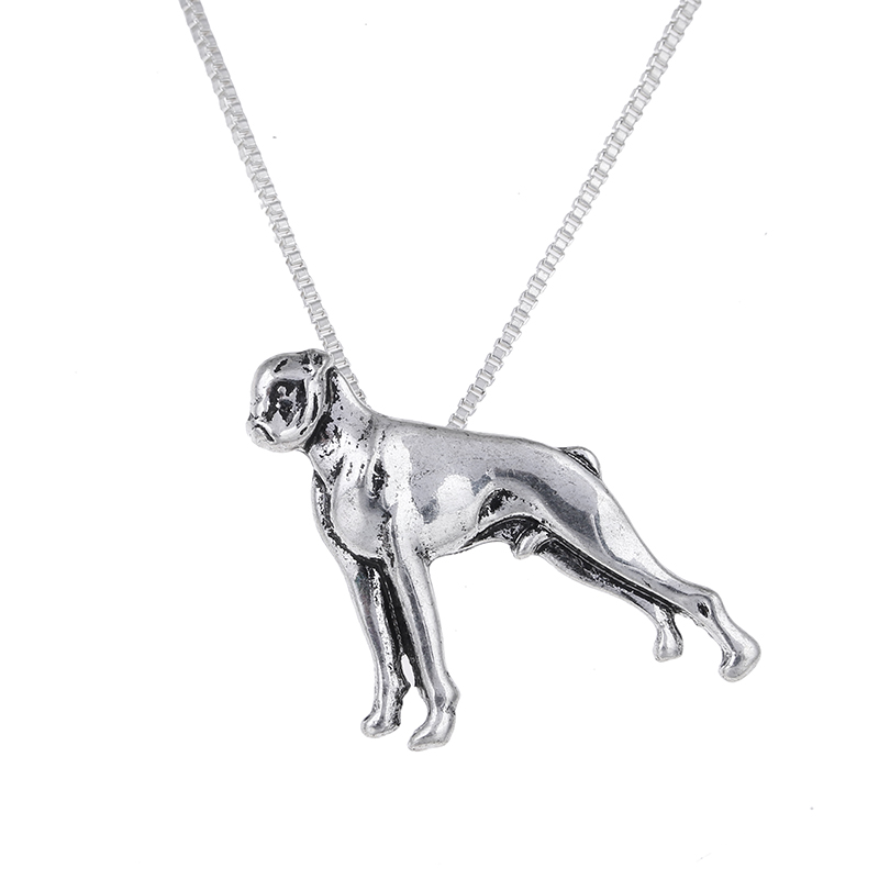 Fashion Silver Boxer Necklace Boxer Pendant Dog Pendants Necklaces Jewelry Long Chain Halloween Gift