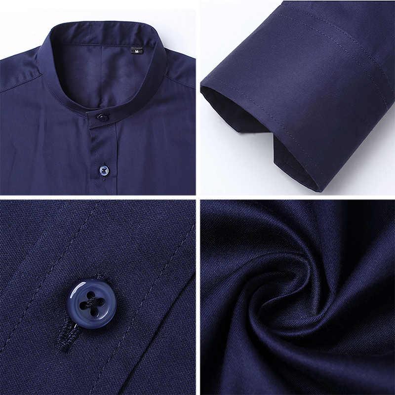BROWON メンズシャツカジュアルスリムフィットシャツ長袖スタンドカラー綿 100% フォーマルシャツ男性特大サイズ 5XL