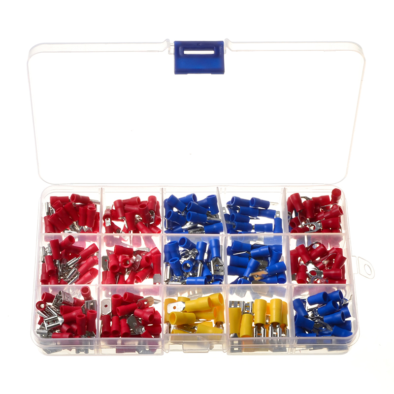 280Pcs Assorted Insulated Spade Crimp Terminal Butt Electrical Wire Connector Cold-Pressure Terminals Set Red Blue Yellow w2s130 aa03 01 double ball bearing cooling blower turbo fan ac 230v 33w 172 150 55mm 2 wires 2700rpm cabinet cooling fan