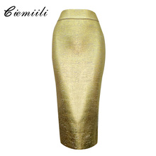 CIEMIILI 2017 Women New Fashion Summer Gold Silver Skirts Evening Party Night Club Celebrity Mid-calf Bodycon Sexy Pencil Skirts women fashion black sleeveless pu dress strapless slim bodycon dress summer mid calf party pencil dresses