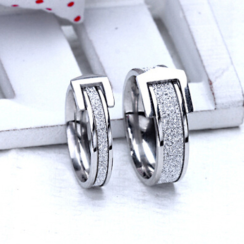 6a2aa13db2 Personalized fashion belt buckle frosted titanium steel ring couple  Stainless steel jewelry engagement gift Silver money ring