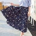 Alta cintura falda de flores de gasa mujeres de primavera 2017 de estilo bohemio vintage impreso larga plisada falda de las mujeres elegantes faldas de las muchachas