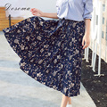 high waist floral chiffon skirt women 2017 spring bohemian style vintage printed long pleated skirt women elegant girls skirts