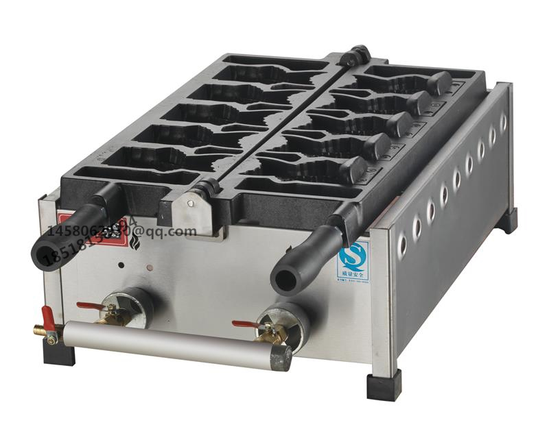 Amercian gas fish waffle baker Open Mouth Fish Waffle Ice Cream Filling Taiyaki Grill Maker