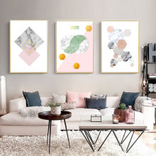 Geometric Wall Art Abstract Painting Canvas Nordic Print Posters Pink Prints Poster Marble Unframed
