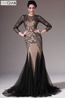 New Mermaid O Neck Long Sleeves Sweep Train Black Tulle Evening Dress with Champagne Lining