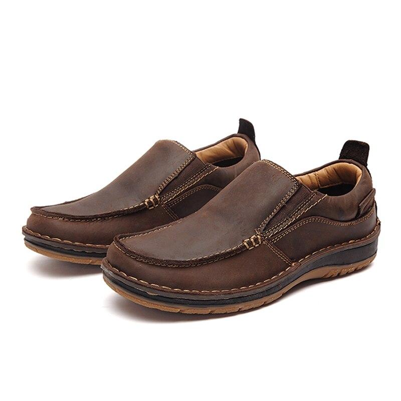 brown Main Mocassins Glissement Pour Confortable Véritable Sur Chaussures Homme Cuir Décontractées Mode En Hommes Lingge Black ZdxzqAgwA
