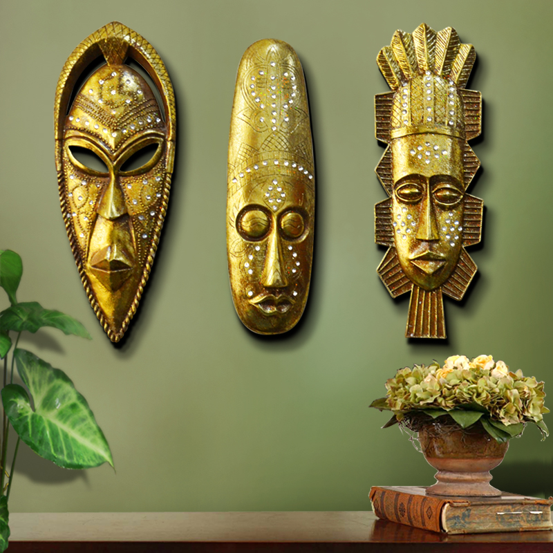 Peculiar Household Decorations Africa Modern Abstract Golden Resin Character Mask Hanging Head Portrait Sculpture Wall HangingPeculiar Household Decorations Africa Modern Abstract Golden Resin Character Mask Hanging Head Portrait Sculpture Wall Hanging