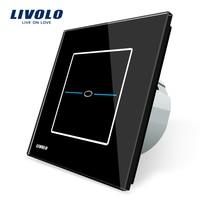 Free Shipping Livolo EU Standard VL C701 SR2 Black Crystal Glass Panel AC 110 250V 1Gang