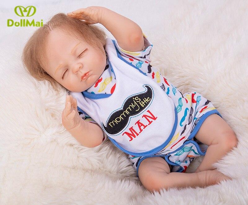 46 cm silicone reborn bébé poupées réel sommeil nouveau-né garçon poupées reborn bebes reborn bonecas oyuncak bebek silikon