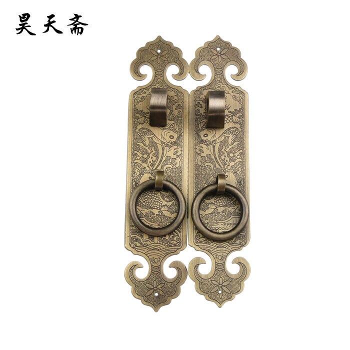 ФОТО [Haotian vegetarian] bronze copper door door handle HTC-188 carp big splash straight handle tricolor