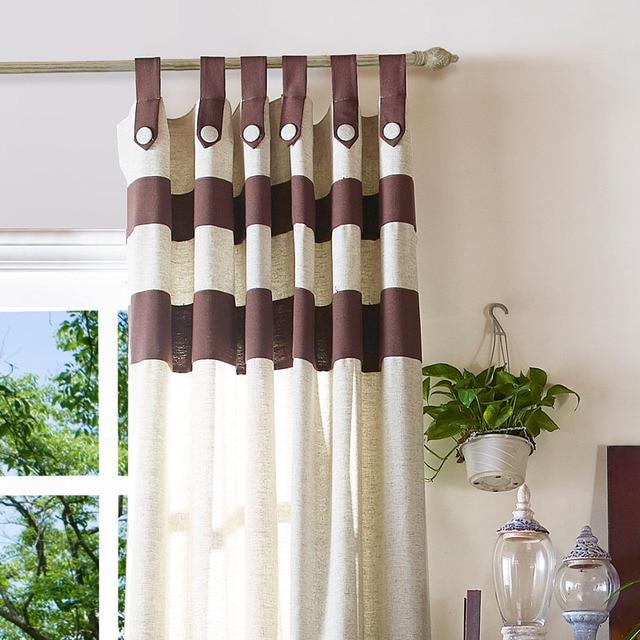 Algodn de lino saln ventana Panel Cortinas slido caf dormitorio