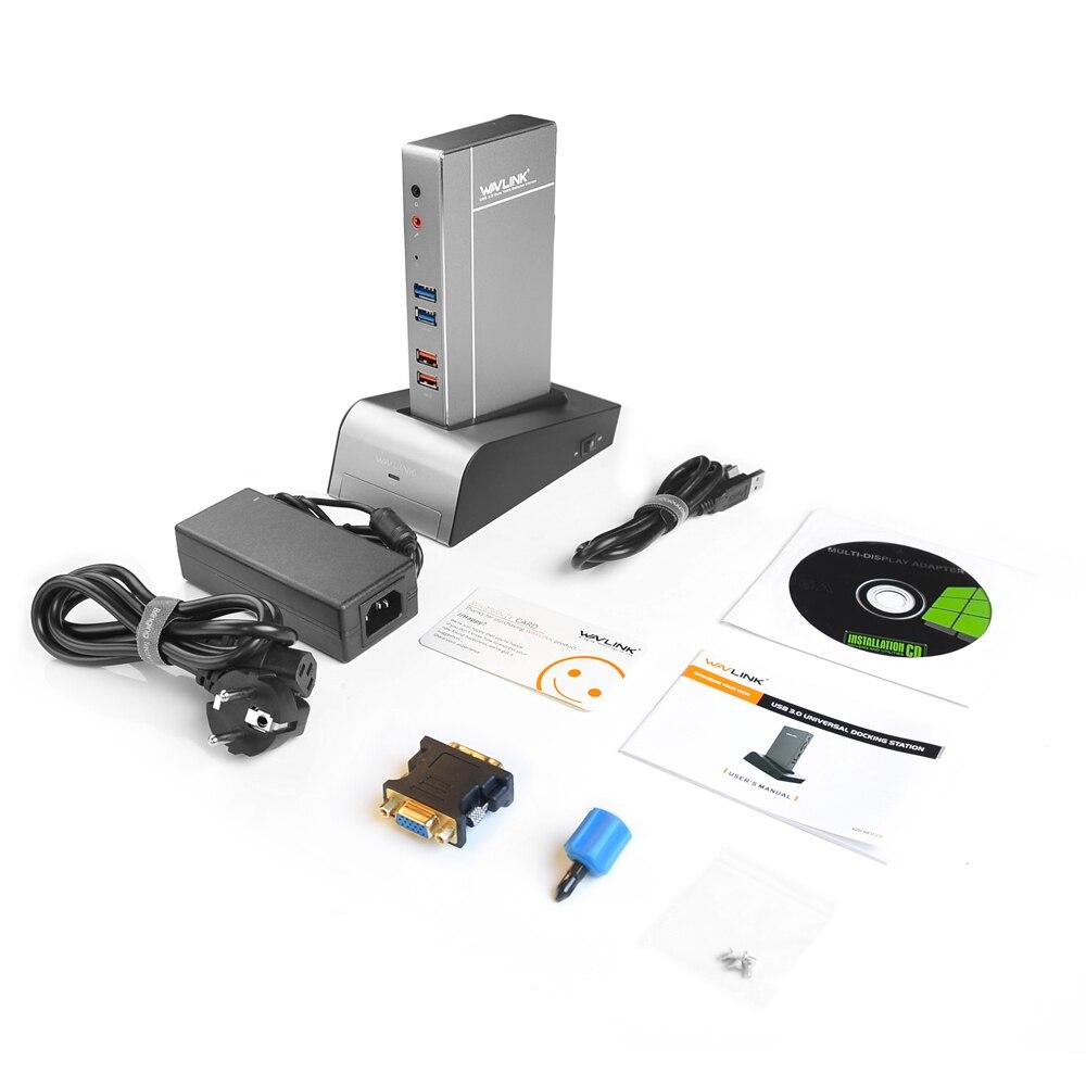 USB 3.0 Station d'accueil universelle pour ordinateur portable avec Base de boîtier HDD et SSD double Support vidéo HDMI/VGA/DVI à 2048X1152 Gigabit Ethernet - 6