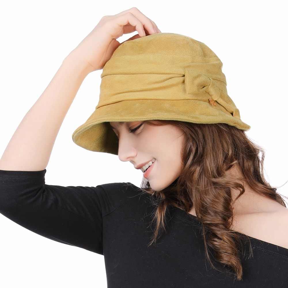 5b4f98b1b44 FANCET Women Cloche Bucket Hats 1920s Vintage Church Derby Packable  Foldable Winter Wired Brim Adjustable Bowknot Hats 99088