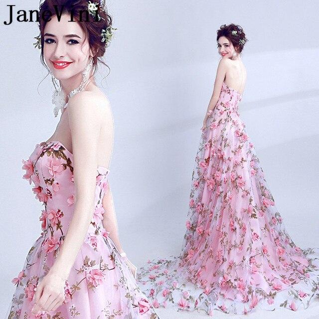 JaneVini Elegant Pink Flowers Prom Dress Long 2019 Floral Backless Ladies Party Dresses Evening Gowns Vestidos Cerimonia Longos