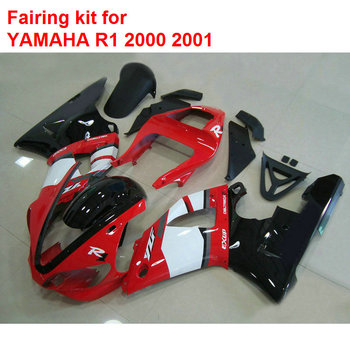 Aftermarket body parts for YAMAHA fairings R1 2000 2001 red black white fairings set YZF R1 00 01 MM79