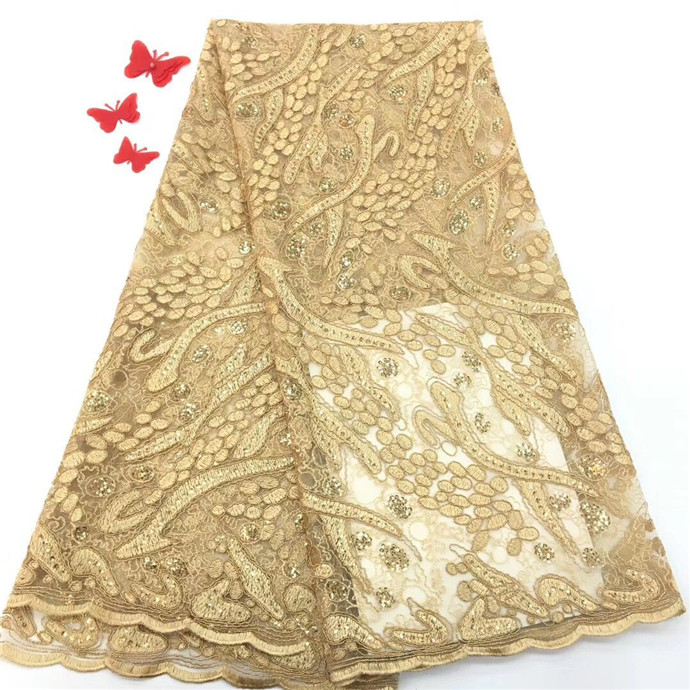 African Lace Fabric 2018 Embroidered Nigerian Laces Fabric High Quality French Tulle Lace Fabric With SequinsAfrican Lace Fabric 2018 Embroidered Nigerian Laces Fabric High Quality French Tulle Lace Fabric With Sequins