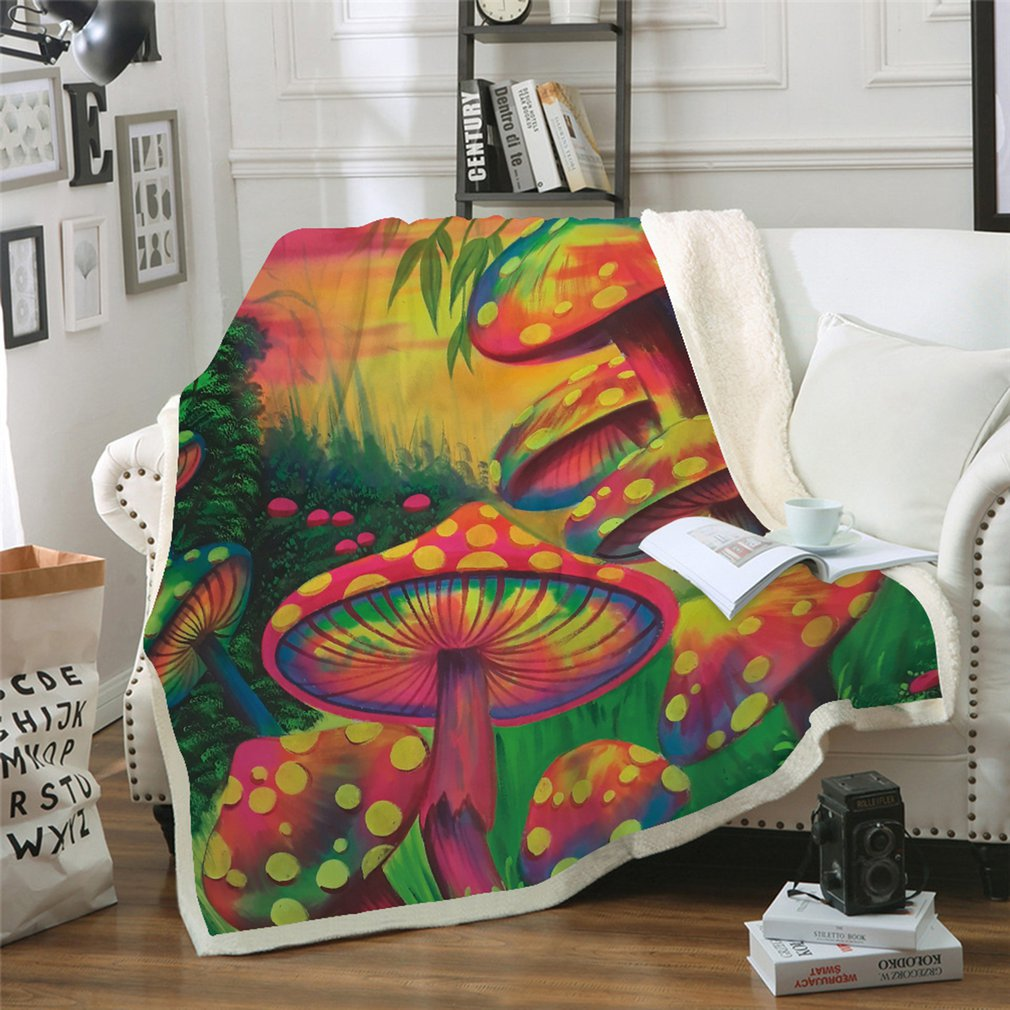 Square Carpet Mushroom Series MT0026 Thickened Double-layer Plush Blanket Home Sofa Bedding Office Car Blanket Home TextileSquare Carpet Mushroom Series MT0026 Thickened Double-layer Plush Blanket Home Sofa Bedding Office Car Blanket Home Textile