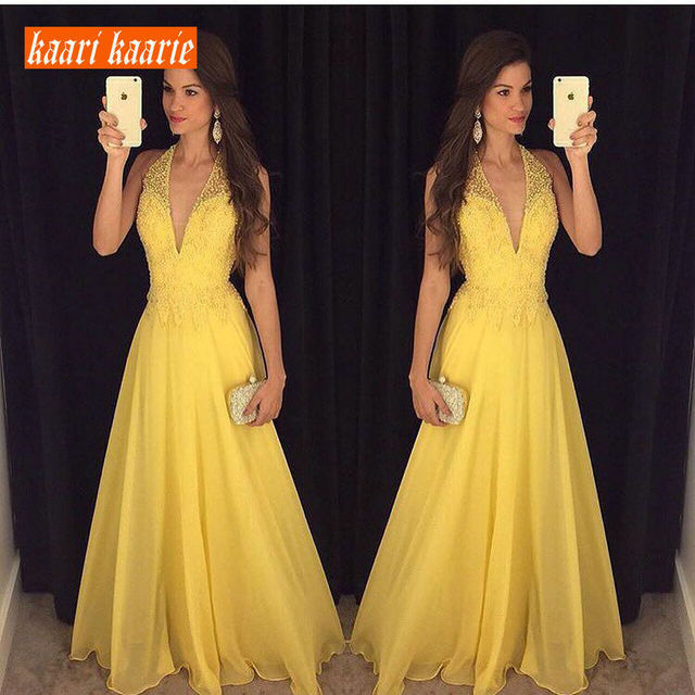 Fashion Yellow Long Evening Dresses 2019 Sexy Evening Gowns Women Formal V-Neck Chiffon Backless Beach Cheap Party Dress Prom