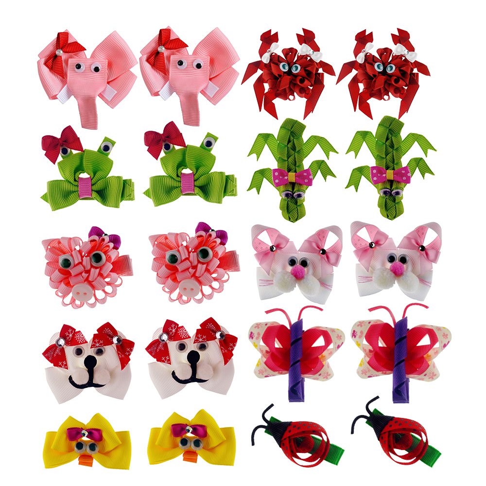 Tiny Ribbon Sculpture Hairbows Clip Barrettes 20 PCS Assorted Animal Shape Mini Hair Bow Clips For Little Girls Teens Kids Child Скульптура