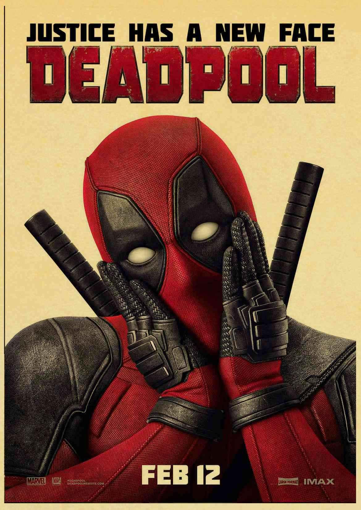 De Super Heróis Da Marvel Deadpool Cartaz De Papel Kraft Impressão Pintura Kids Room Decor Retro Poster Dos Desenhos Animados Home Decor Adesivo De