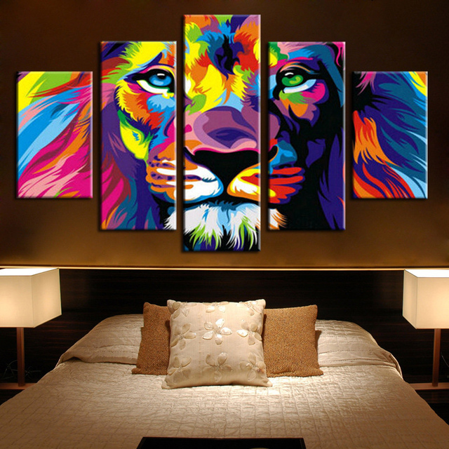 5 Panels Canvas Prints Framed 5 Panels Modern Animal Lion King Canvas  Painting Poster Home Decor