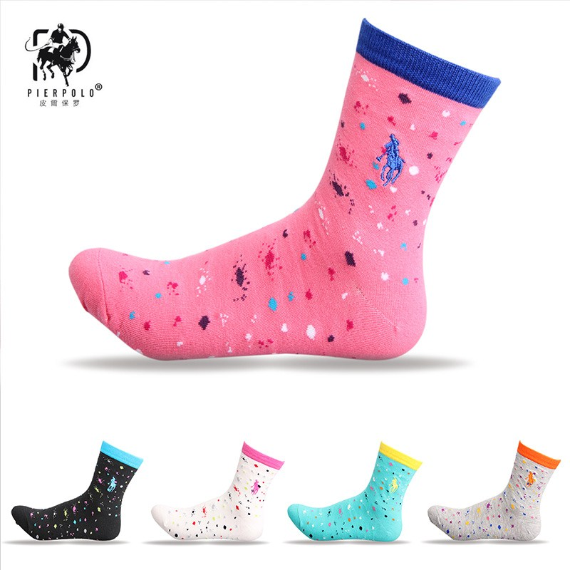 Harajuku new PIER POLO women's   socks   florets cotton center hose fashion casual color women's   socks   the best gift to the ladies