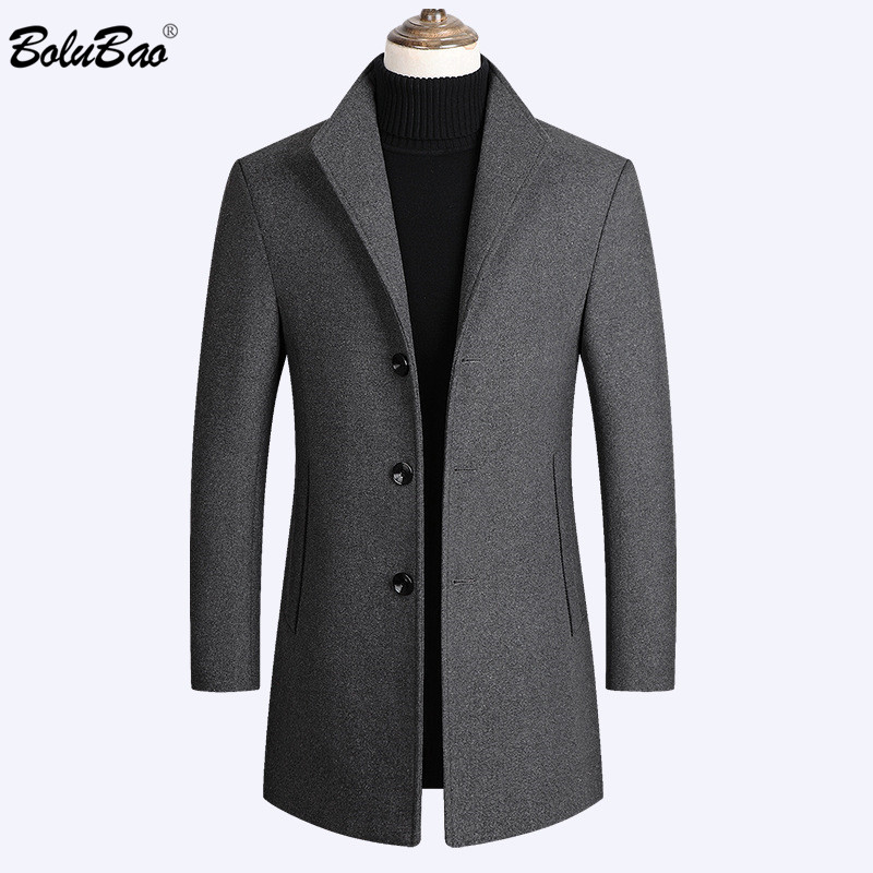 Men Wool Blends Coats Solid Color High Quality Wool Coats
