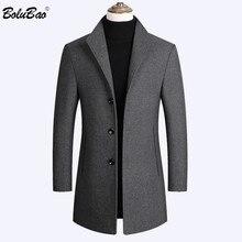 BOLUBAO marka erkek yün karışımları mont sonbahar kış yeni düz renk yüksek kaliteli erkek yün paltolar lüks yün karışımları ceket erkek