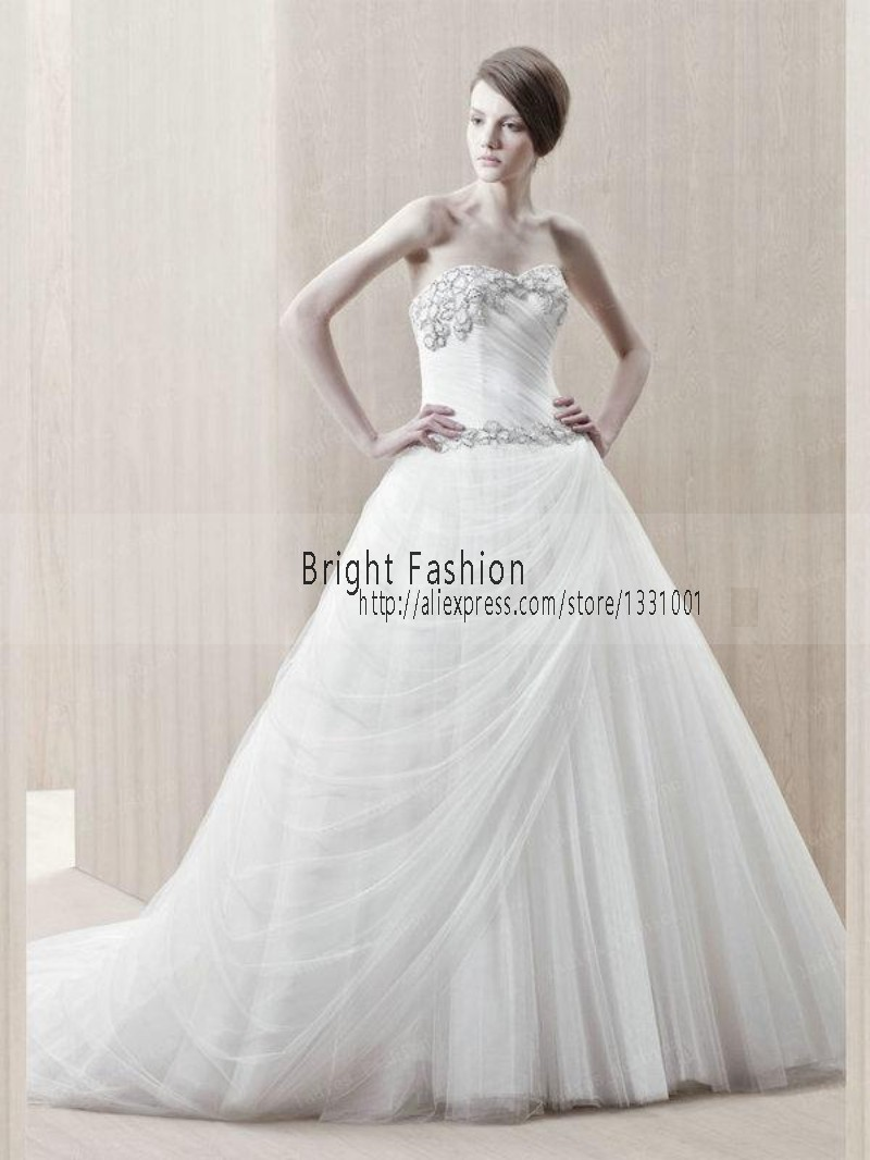 Dropped Waist Wedding Dress 2016 New Fashionable A Line White Bridal ...